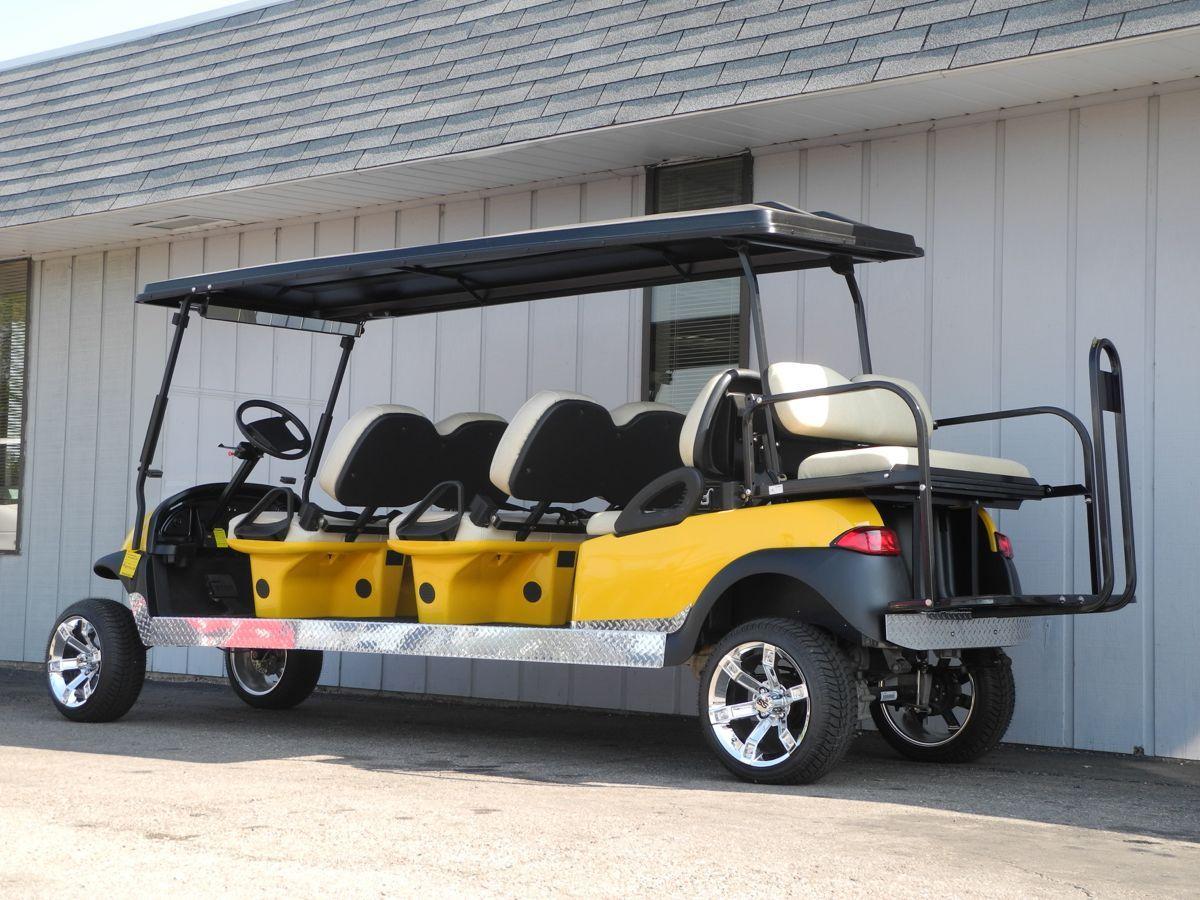 This 8 Passenger Stretch Limo Electric Club Car Precedent Is Street Ready With A 4 Inch Lift 14 Inch Chrome Wheels Club Car Golf Cart Used Golf Carts Golf Car