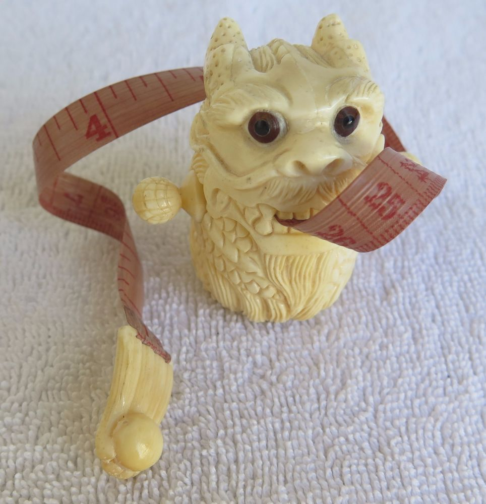 Antique Hand Carved Bone Dog Bone Sewing Tape Measure Sewing Tape Measure Bone Carving Vintage Sewing Notions
