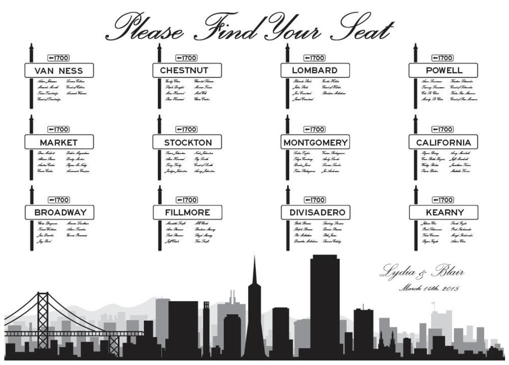 Street Sign Seating Chart Digital Design Printable PDF