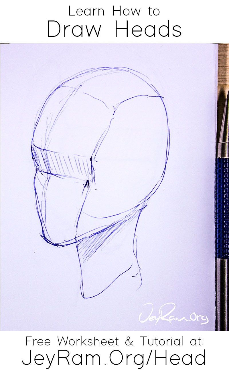 How To Draw The Head From Any Angle Free Worksheet Video Tutorial In 2020 Human Anatomy Art Drawing Body Poses Drawings