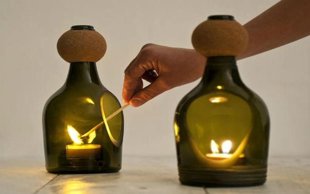 Glass Bottle Decorations Recycling Glass Bottles For Candles Centerpieces And Table