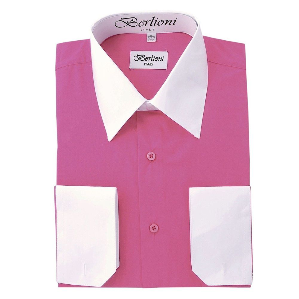 Berlioni Italy Mens Dress Shirt French Convertible Cuff Two Tone In