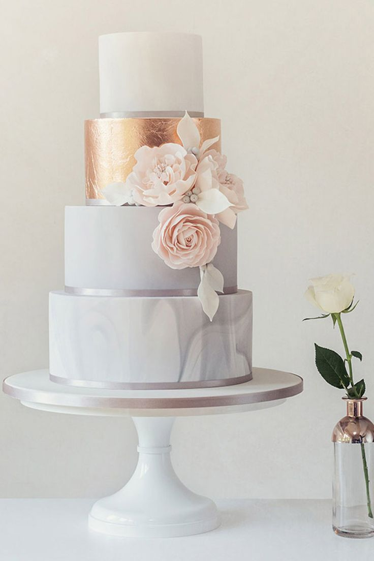 Dieser elegante Minz-, Pfirsich- und Goldkuchen. – Hochzeitstorten | Hochzeitsto…