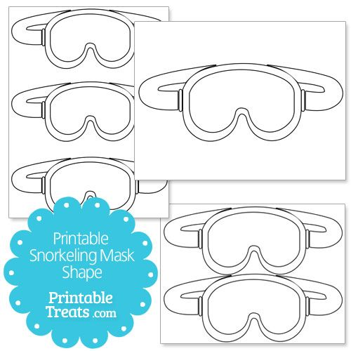 Printable Snorkeling Mask Shape from PrintableTreats Shapes - printable mask template