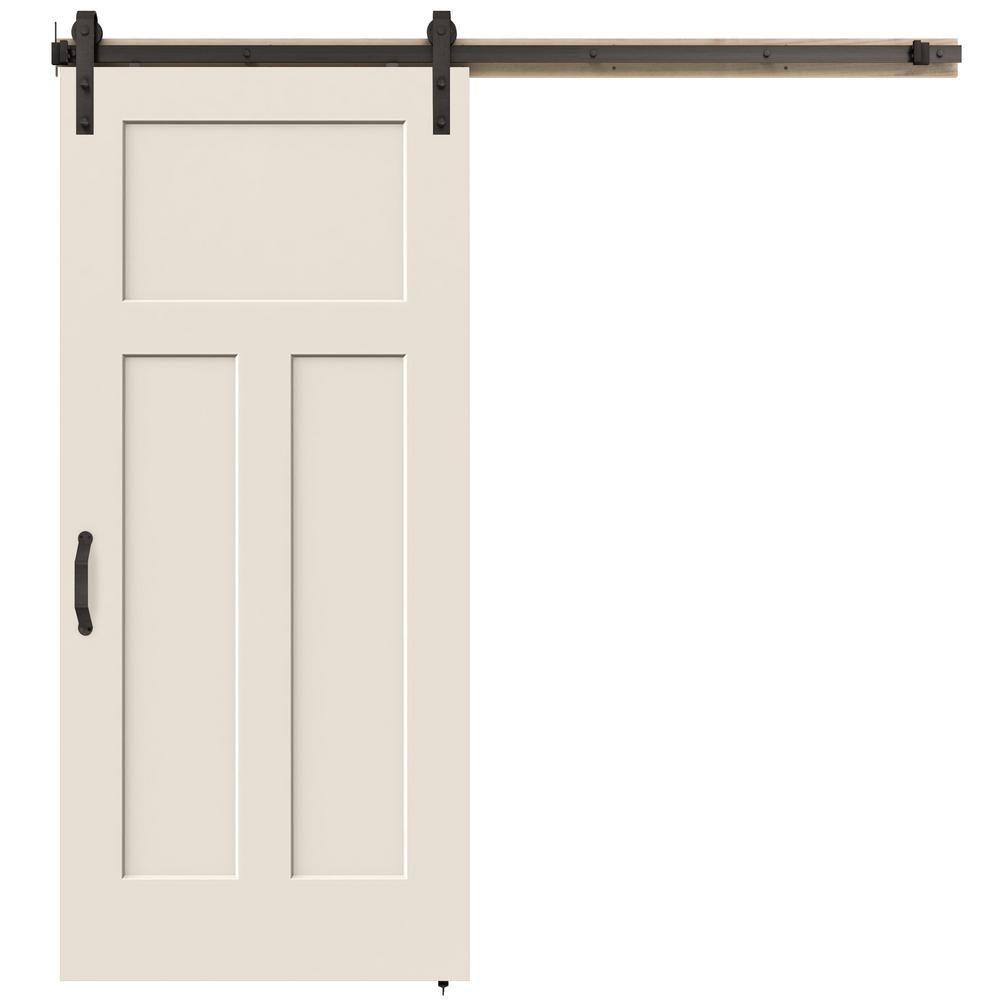 Jeld Wen 36 In X 84 In Craftsman Primed Smooth Molded Composite Mdf Barn Door With Rustic Hardware Kit Thdjw191200684 Garage Door Design Sliding Barn Door Hardware Interior Barn Doors
