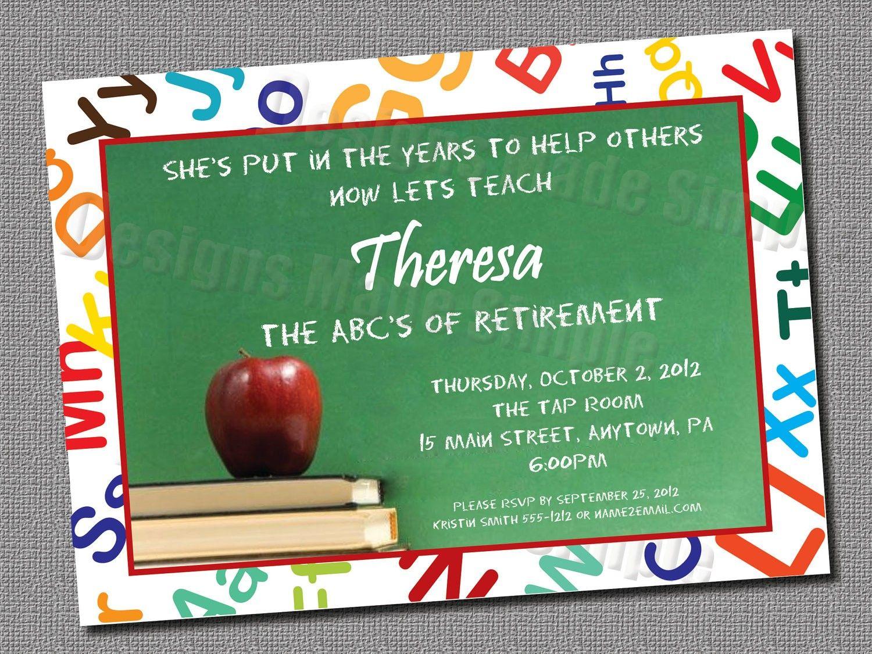 Teacher Retirement Party Invitation - Custom Printable | Retirement ...