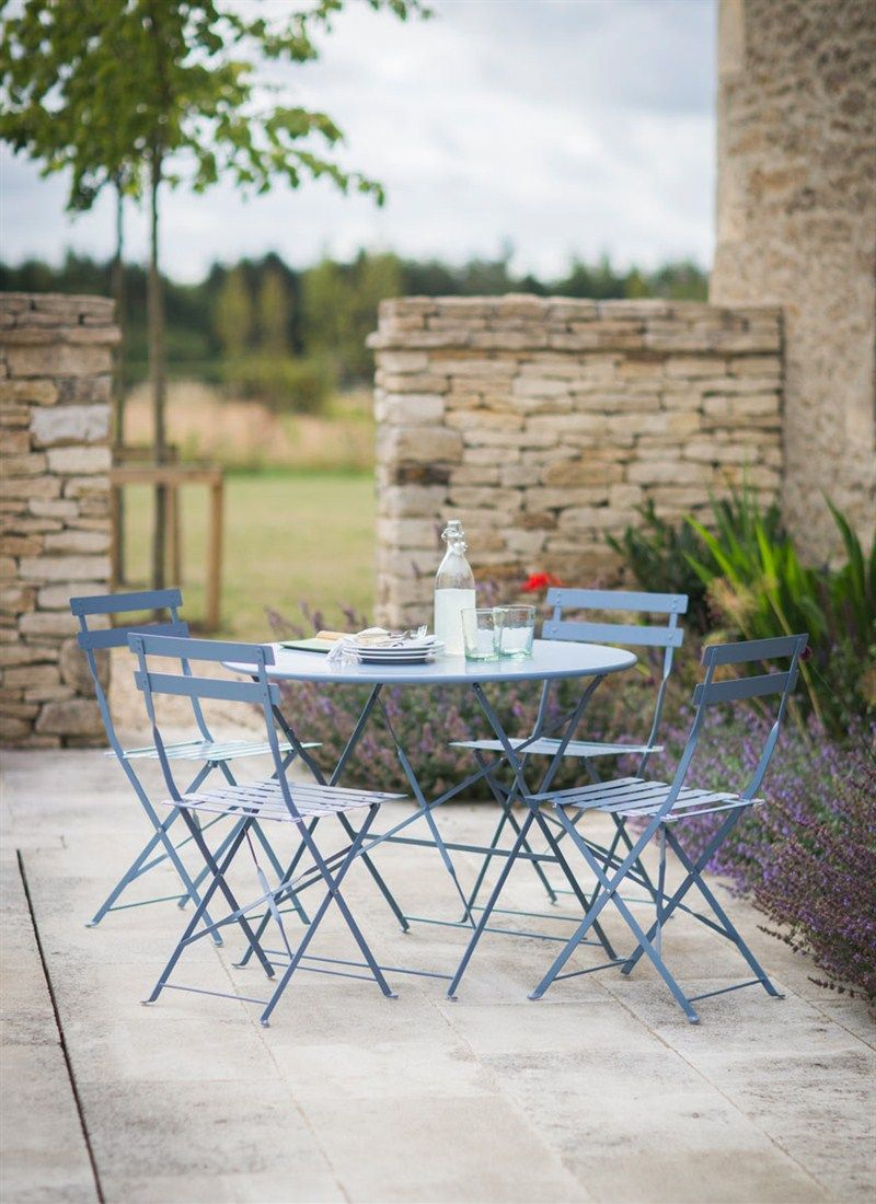 Bistro set table 4 chairs in dorset blue