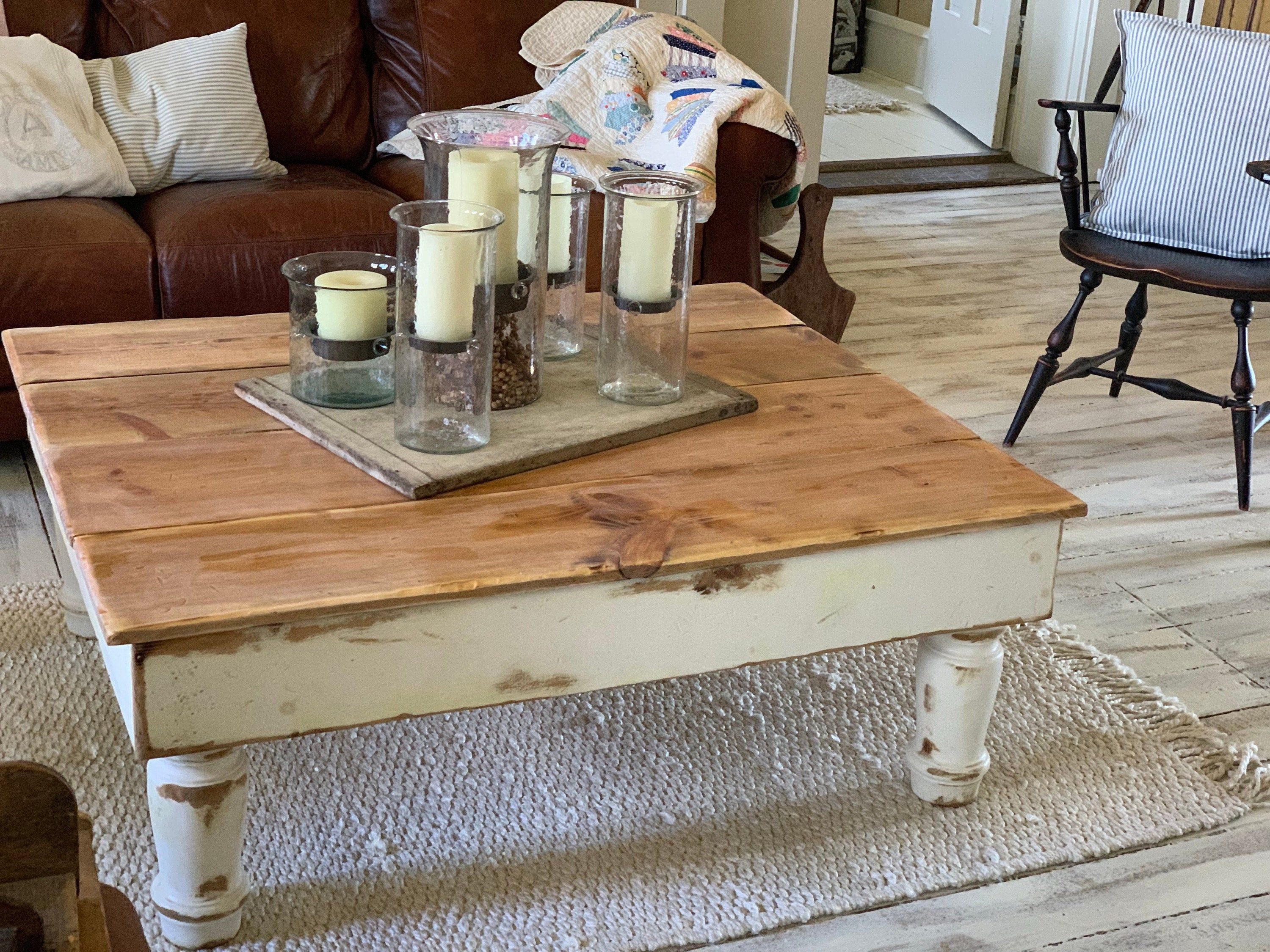 Farmhouse Coffee Table W Turned Legs Solid Rustic Reclaimed Salvaged Wood Custom Sizes Colors By Unique Primtiques Built Tough In Usa In 2020 Coffee End Tables Coffee Table Size Salvaged Wood