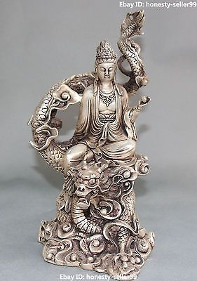 Chinese Silver Buddhism GuanYin Goddess Kwan-yin Buddha Statue