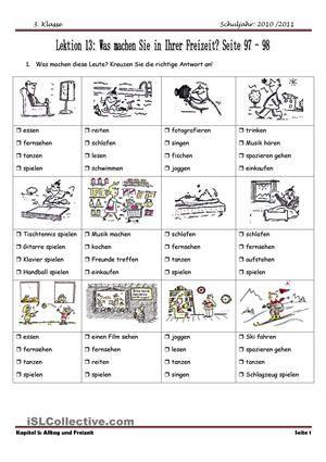 Ünbungen zum Wortschatz (Freizeitaktivitäten)Übungen zur Grammatik ...
