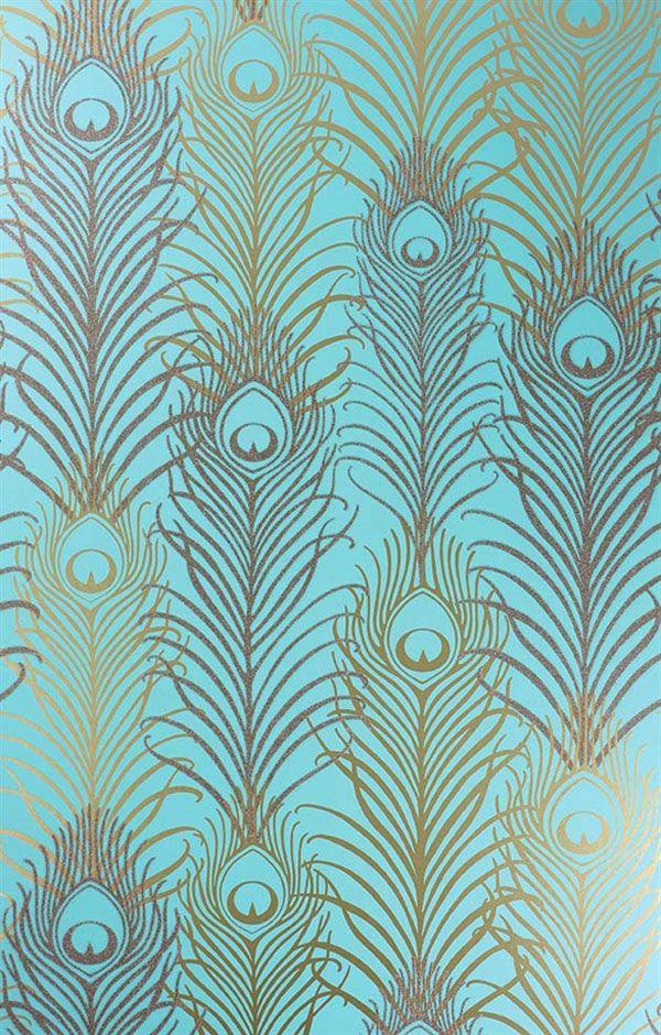 Englische Tapete Osborne Little Matthew Williamson PEACOCK Eden - goldene tapete modern design