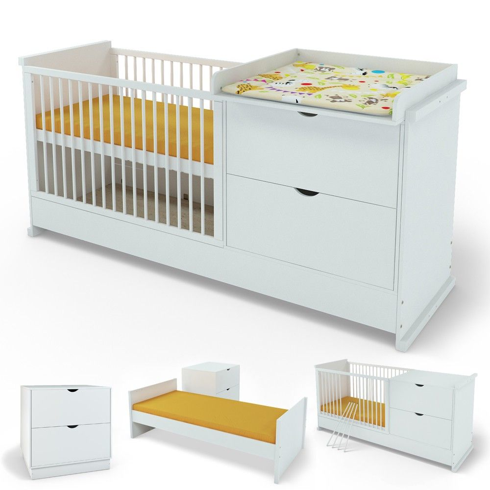 babybett wickelkommode jugendbett kinderbett kommode 120x60cm 4in1 baby. Black Bedroom Furniture Sets. Home Design Ideas