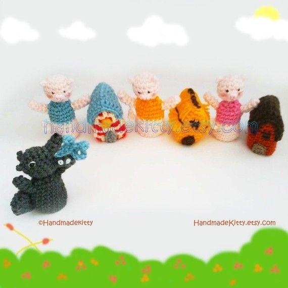 Three Little Pigs Fairy Tale Finger Puppets Amigurumi PDF Crochet ...