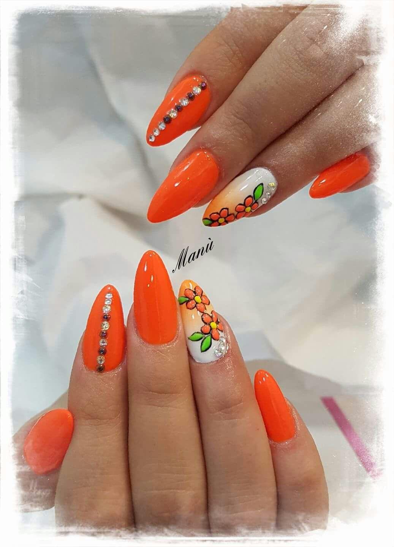Arancione fluo bianco shade fiori