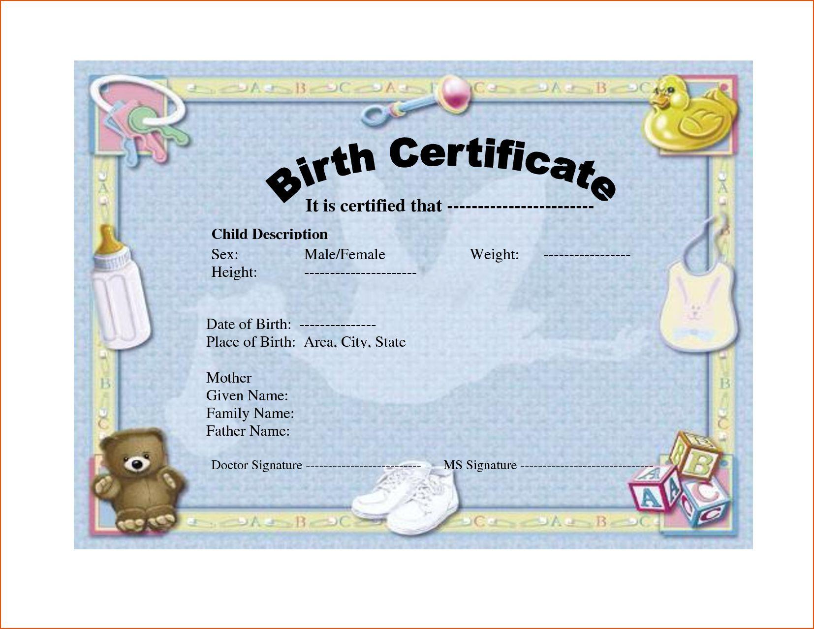 036 Birth Certificate Template Word Blank Mockup Rare