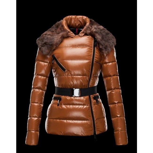 Moncler Faucon Women Down Fur Jacket Brown