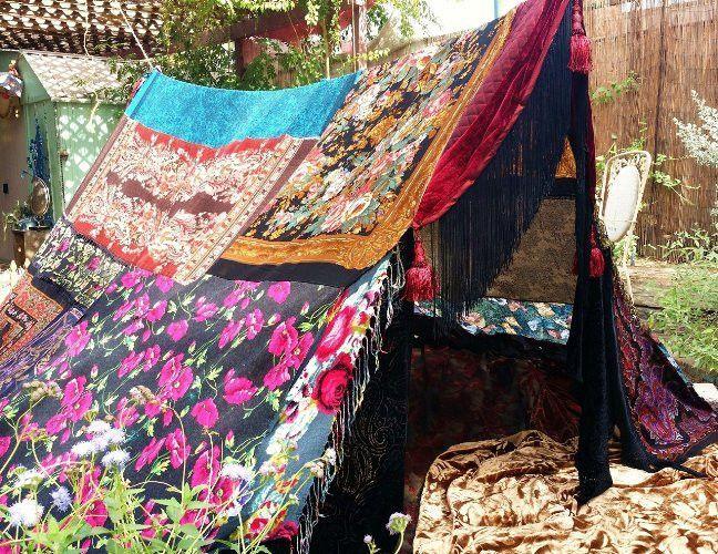 Handmade Floral Boho Hippie Canopy Gypsy Wedding Tent Multi-Color Bohemian Scarf Photo Backdrop - & Handmade Floral Boho Hippie Canopy Gypsy Wedding Tent Multi-Color ...