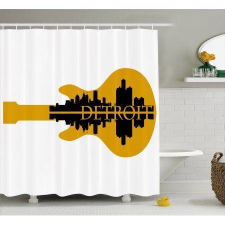 Detroit Decor Shower Curtain High Rise Buildings Silhouette