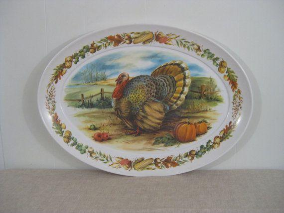 Vintage Turkey Melmac Melamine Platter Serving Tray Large Vintage