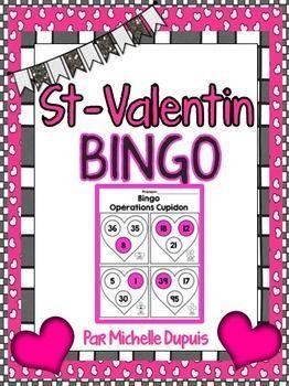 Bingo de St-Valentin qui permet de pratiquer les opérations de base en mathématiques.