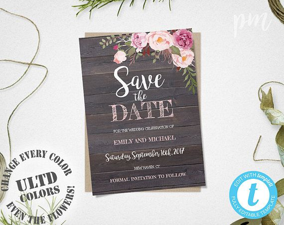 rustic floral save the date template save the date invite