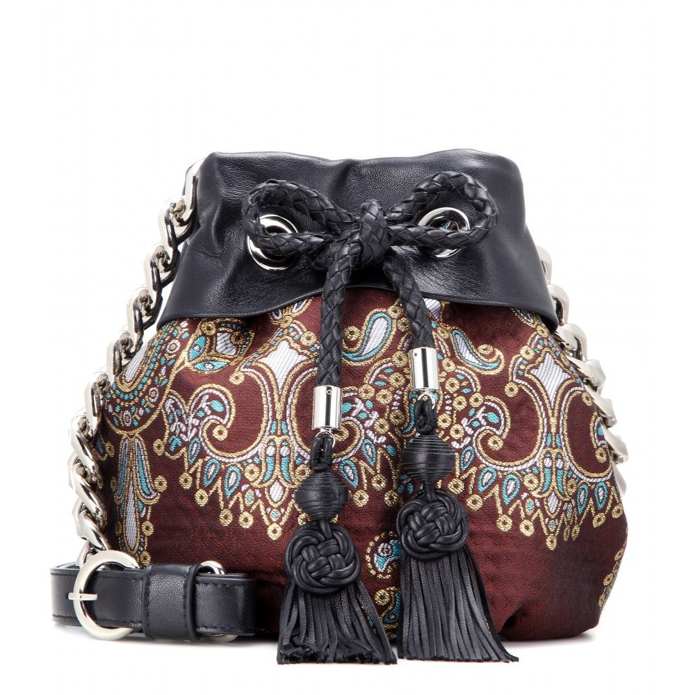 Alessandra Rich - Jacquard and leather bucket bag - mytheresa.com