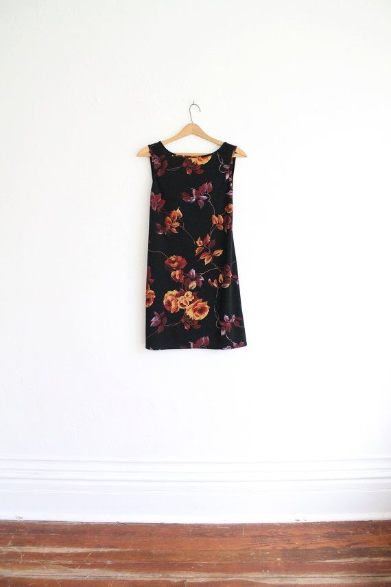 Fall Floral Black Backless Mini Dress by vauxvintage,