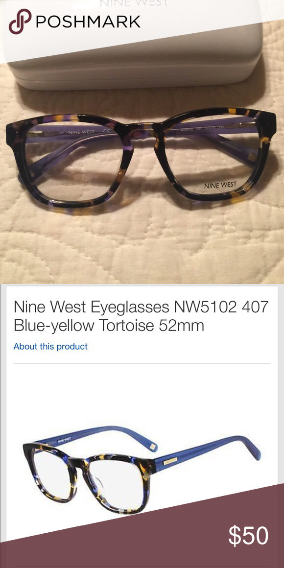 0f6d4aad6e New NineWest Eyeglasses New Ninewest 5102 color 407 blue yellow tortoise .  Size 52-19 135 . Comes with a case as well Nine West Accessories Glasses