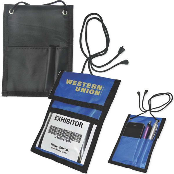 """Trade Show Badge Holder...Bring in new business whenever there's a crowd! This trade show badge holder is designed with a fold over hook and a loop closure with a break-away lanyard. Features back pockets and two convenient pen holders. A security essential for corporations, conventions, and other large gatherings. May be customized with a company name and logo or purchased without imprint. Measures 4 3/4"""" x 6 1/2"""" in diameter with a 1"""" x 2 1/2"""" imprint area."""