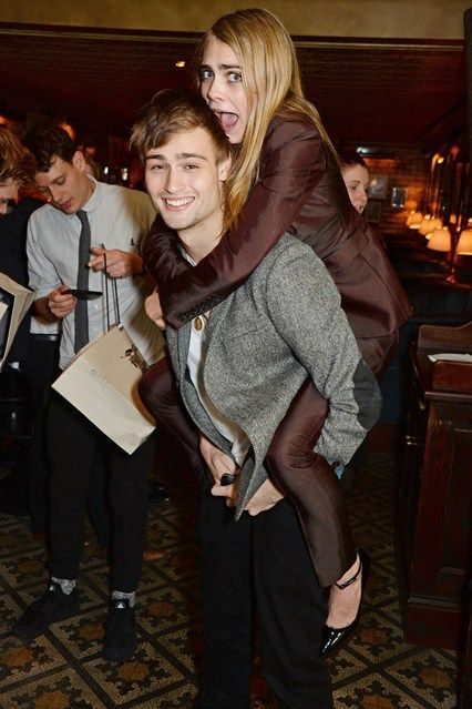 """Date: 2014. Who? Douglas Booth and Cara Delevingne. Event: Harvey Weinstein's Pre-BAFTA Dinner In Partnership With Burberry & Grey Goose, London. The best bit: Douglas Booth once said of his mate: """"She's mad, mad from the first moment I met her, but good fun!"""""""