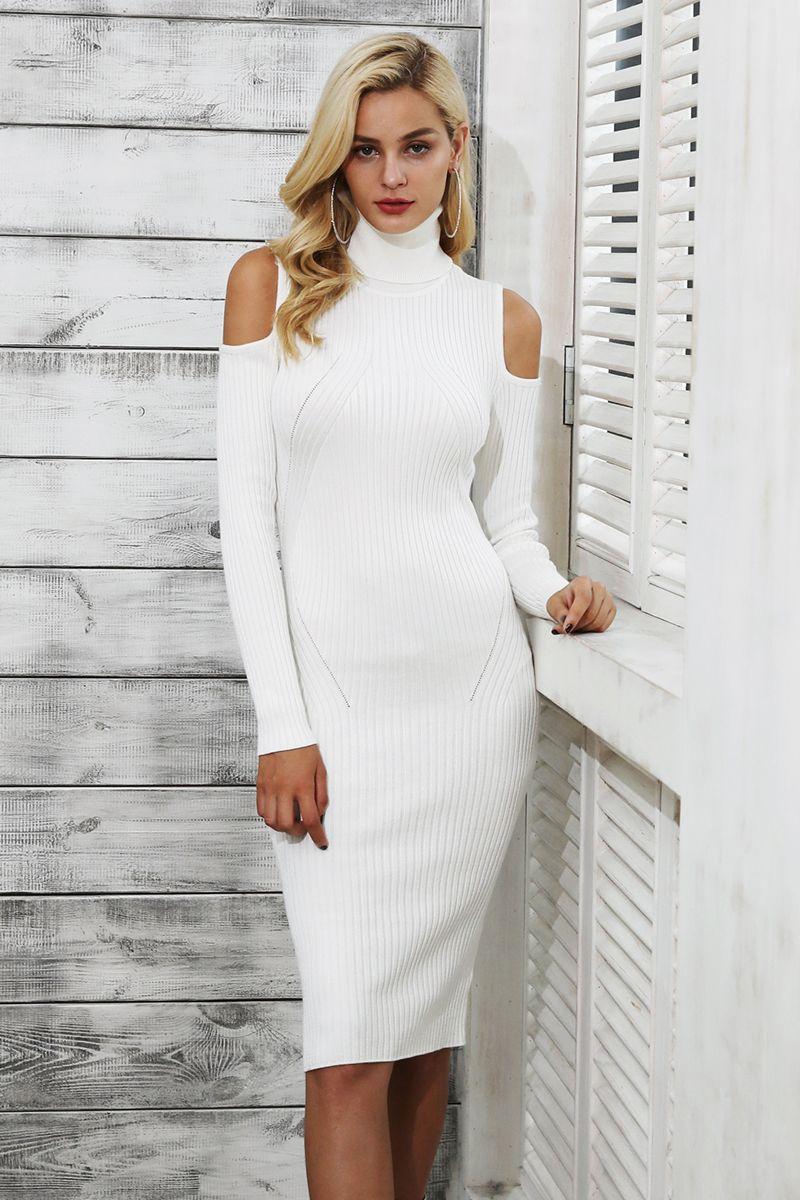 6a3953b32b Simplee ombro Frio puxar femme gola de tricô inverno vestido Ocasional das  mulheres vestido feito malha