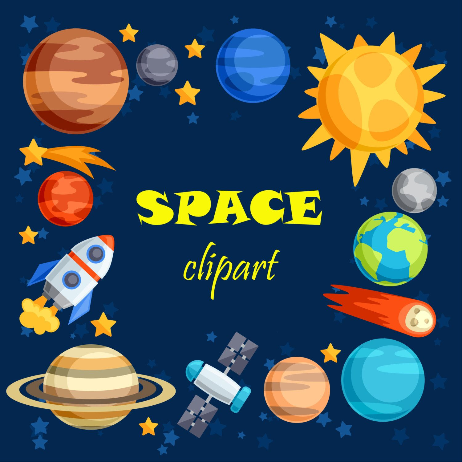 space clip art outer space  [ 1500 x 1500 Pixel ]