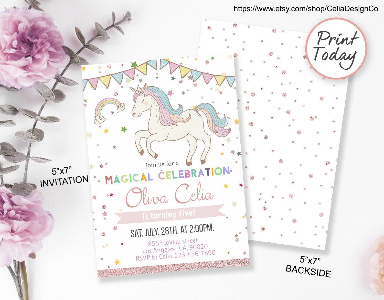 Editable Unicorn Invitation Unicorn Party, Unicorn