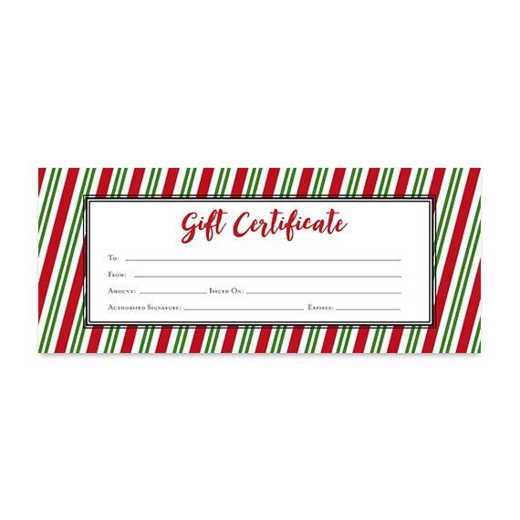 Candy Striper Christmas Gift Certificate Download by CafeInk - gift certificate download