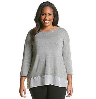 Cupio Plus Size Drop Shoulder Scoop Neck Shirt