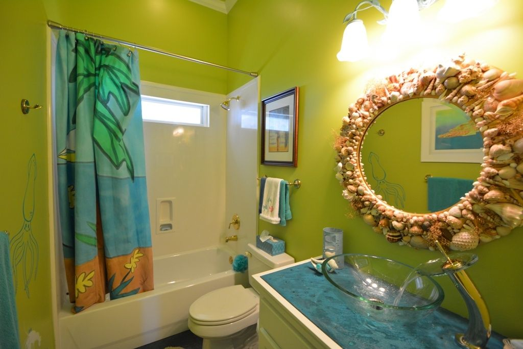 tropical kids bathroom with vessel sink, the sea biscuit seashell