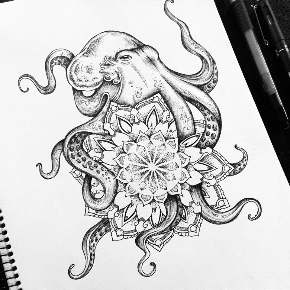 Octopus Mandala tattoo commission on Behance Tattoos Pinterest
