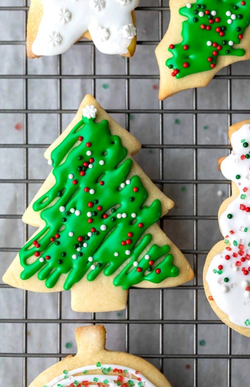 Christmas Tree Cookies In 2020 Sugar Cookies Recipe Best Sugar Cookie Recipe Sugar Cookie Recipe No Chill