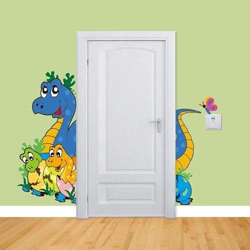 Blue dino, door sticker for children's room
