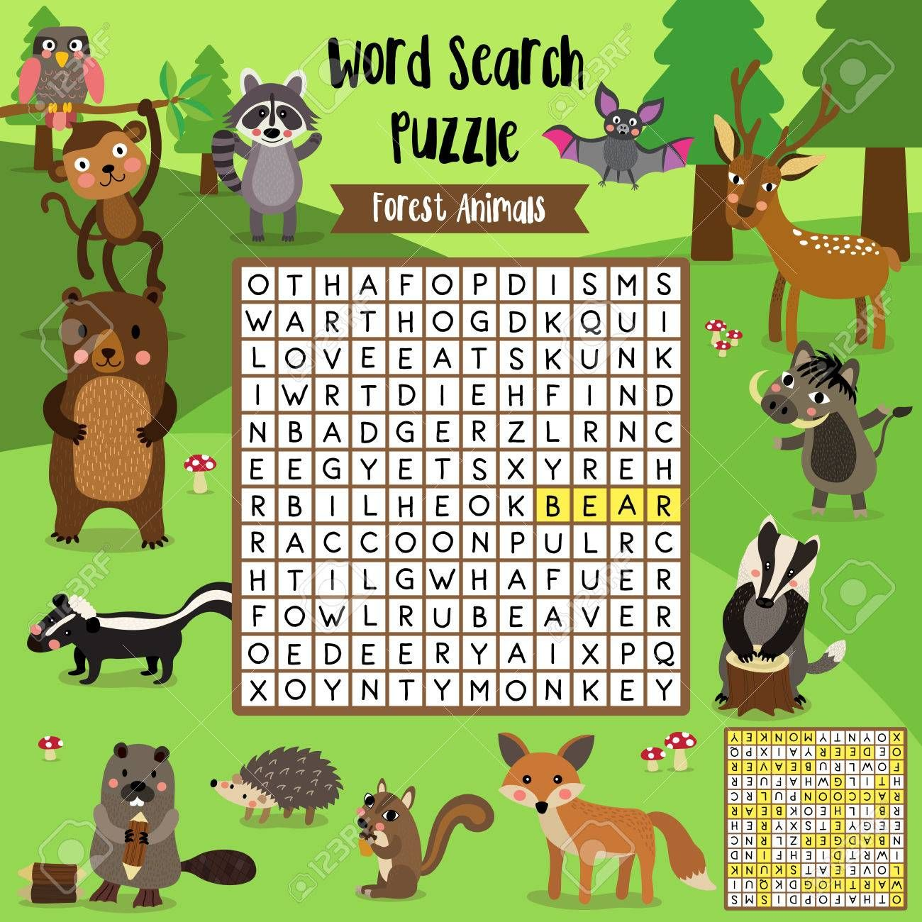 Words Search Puzzle Game Of Forest Animals For Preschool