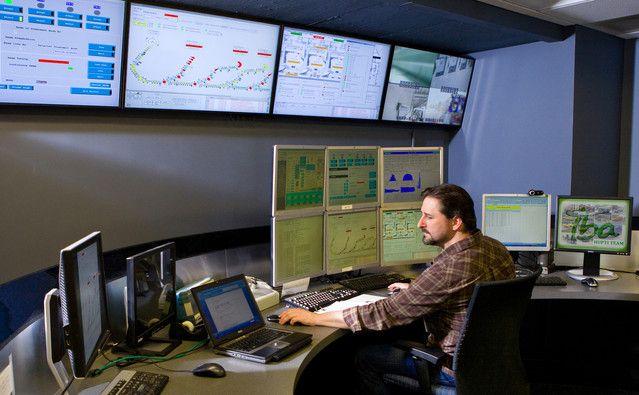 A technician works in the control room at the Hampton University Proton Therapy Institute in Hampton, Virginia