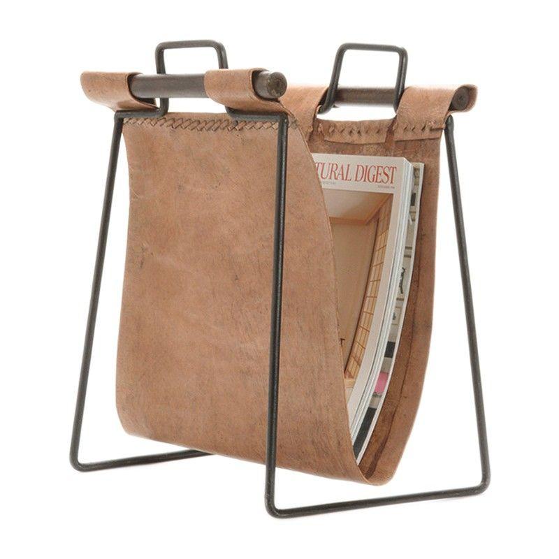 Go Home British Isle Iron and Leather Magazine Rack//