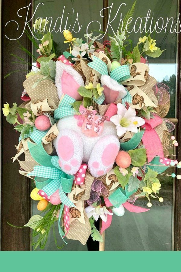 Easter wreath created by Trendy Tree customer, Kandi's Kreations. It's for sale in her Etsy shop. Visit the Trendy Tree website for seasonal decorations and wreath making supplies for all occasions. #trendytree #easterwreath #homedecor