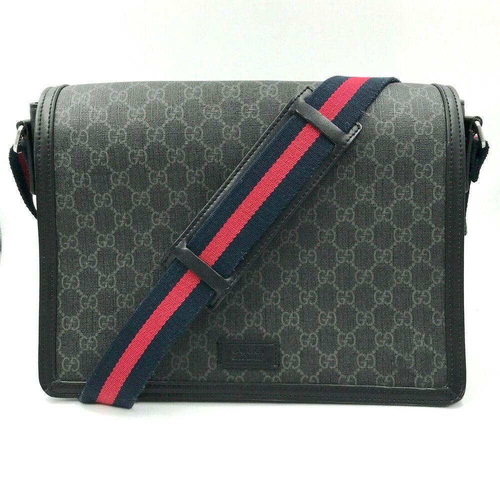 639405d15d50 Gucci Black Original GG Fabric Large Flap Messenger Bag $800 | It's in the  bag | Gucci messenger bags, Gucci black, Gucci men