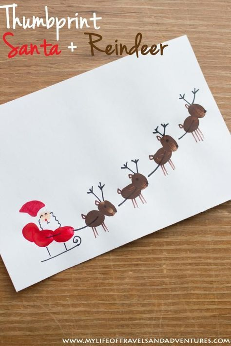Craft Christmas Card Ideas Part - 34: Thumb Print Santa, Sleigh + Reindeer - A Cute Christmas Craft For All Kids.