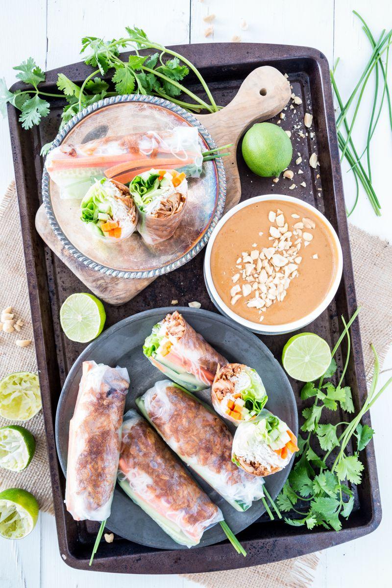 #Vegan #GlutenFree Jackfruit Vietnamese Summer Rolls with Hoisin Peanut Sauce |  Keepin' It Kind