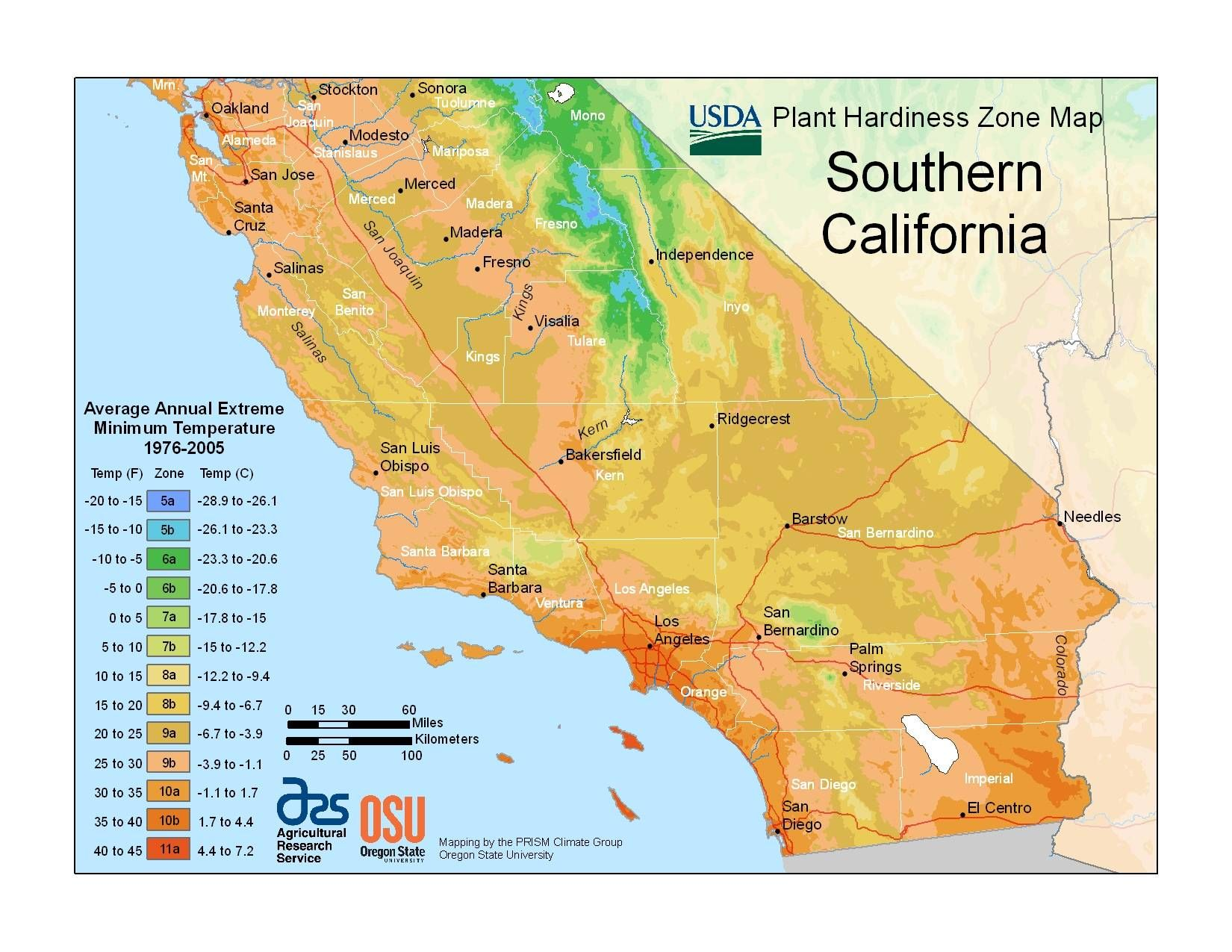 southern california hardiness zone map i guess i'm 10b or