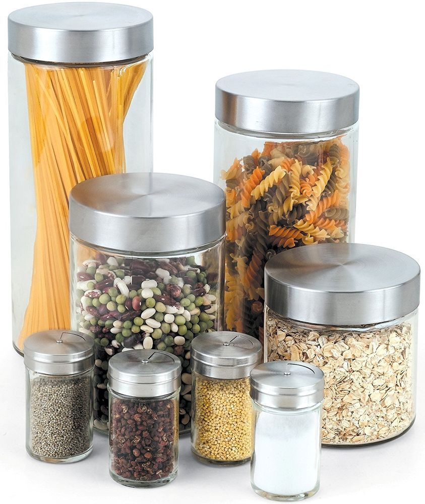 Kitchen canisters glass  Cook N Home Stainless Steel Glass Canister and Spice Jar Set Piece
