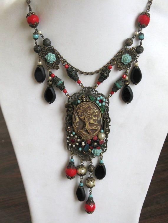 Beaded  necklace with Dia de Muertos cameo pendant and pin set