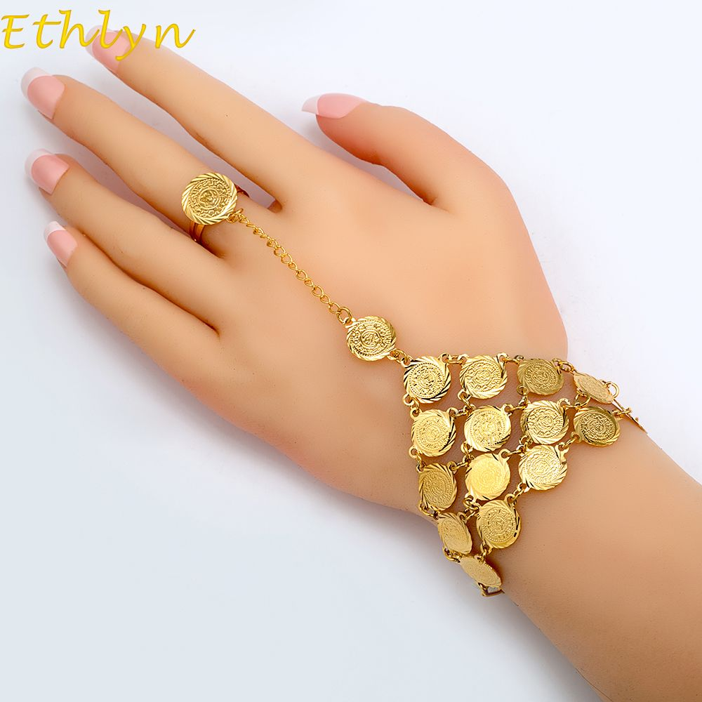 Ethlyn Coins Bracelet For Women Islam Muslim Arab Coin Money Sign Gold Color Middle Eastern Jewelry Middle Eastern Jewelry Bangles Jewelry Designs Hand Jewelry
